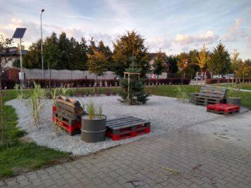 Skwer spotkań przy zbiegu ulic Strzeleckiej i Krasickiego w Mosinie. Fot. facebook.com/Skwer-spotkań-w-Mosinie