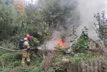 Pożar ogródków przy ul. Farbiarskiej w Mosinie