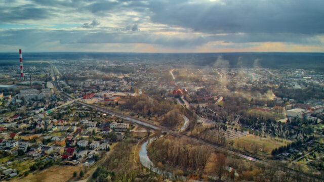 Smog nad Mosiną - zdjęcie lotnicze fot. Jacek Niedzielski