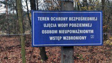 Aquanet - teren ochrony bezpośredniej w gminie Mosina - tablica informacyjna