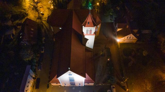 Kościół Św. Mikołaja w Mosinie - widok z lotu ptaka