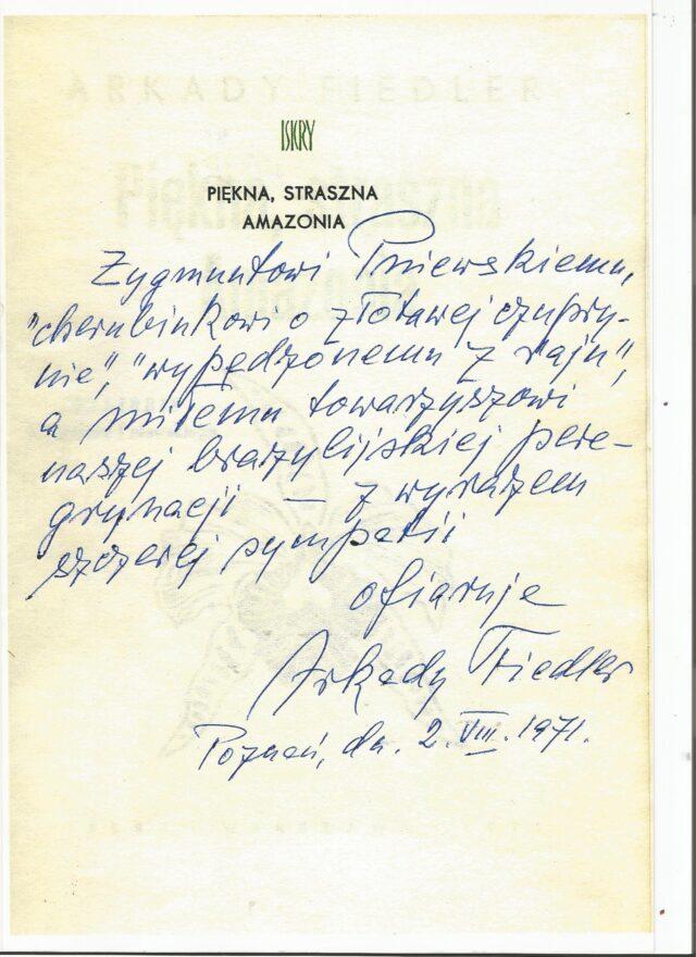 Dedykacja dla Zygmunta Pniewskiego od Arkadego Fiedlera