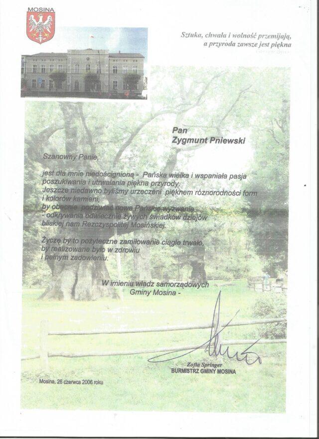 Podziękowanie od władz gminy Mosina dla Zygmunta Pniewskiego
