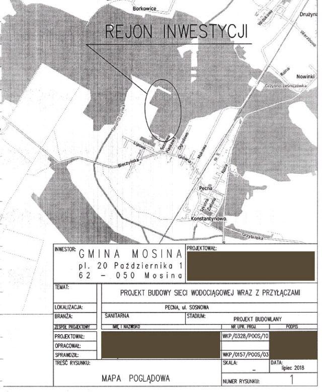 Fragment dokumentacji projektowej Aquanet, dotyczącej wodociągu w Pecnej.