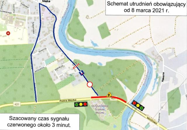 Schemat utrudnień na moście w Rogalinku