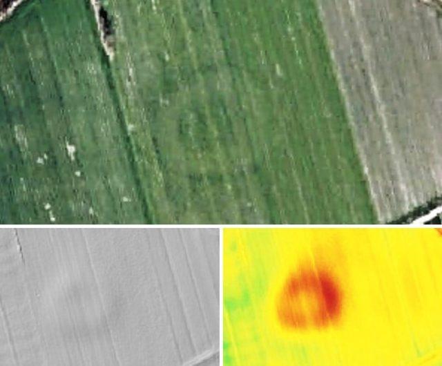 Odkryty obiekt na zobrazowaniach lotniczych Geoportalu (geoportal.gov.pl).