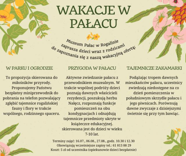 Wakacje w pałacu - Muzeum Pałac w Rogalinie