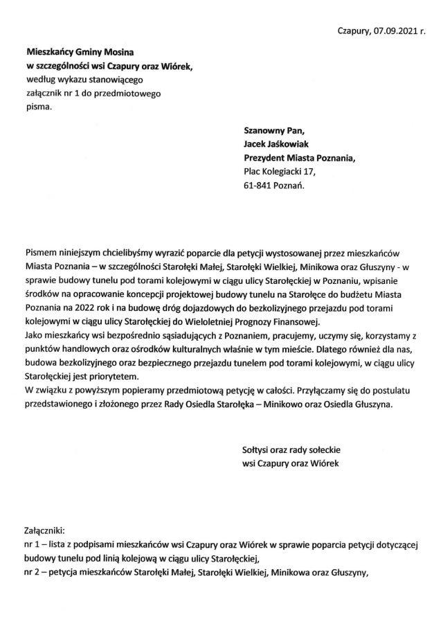 Petycja TAK dla budowy tunelu pod torami kolejowymi w ciagu ulicy Staroleckiej w Poznaniu!