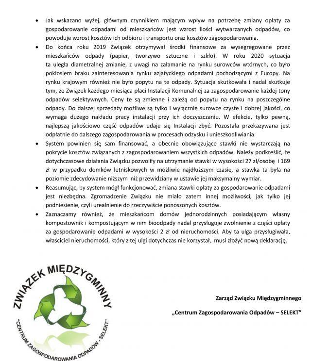Materiały informacyjne dotyczące przyczyny zmiany stawki opłaty za gospodarowanie odpadami komunalnymi; źródło: Selekt